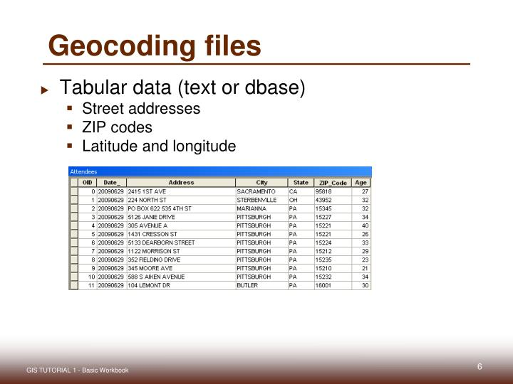 Geocoding files