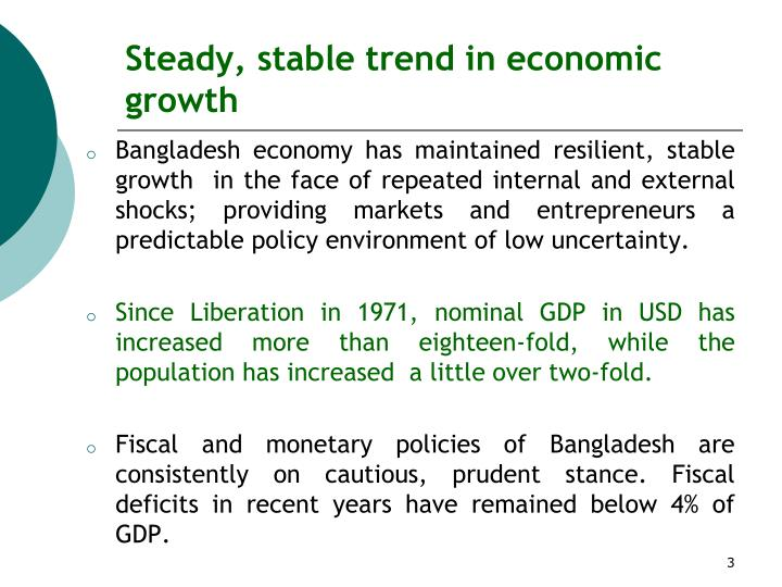 Steady stable trend in economic growth