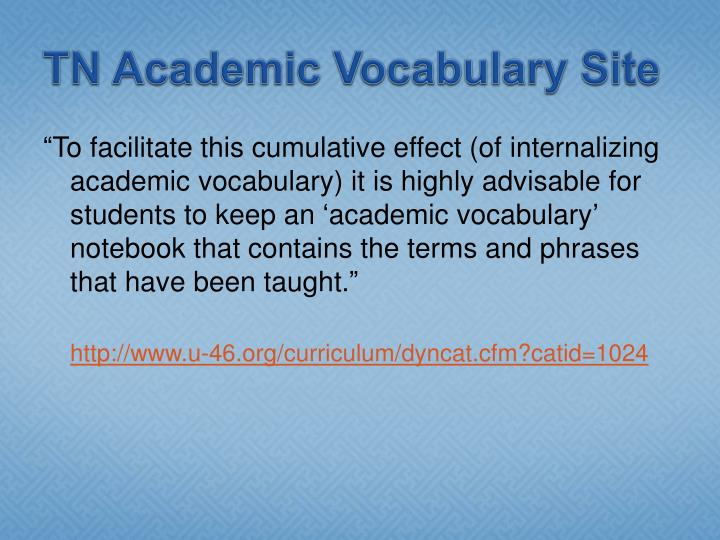TN Academic Vocabulary Site