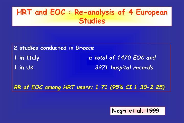 HRT and EOC : Re-analysis of 4 European Studies