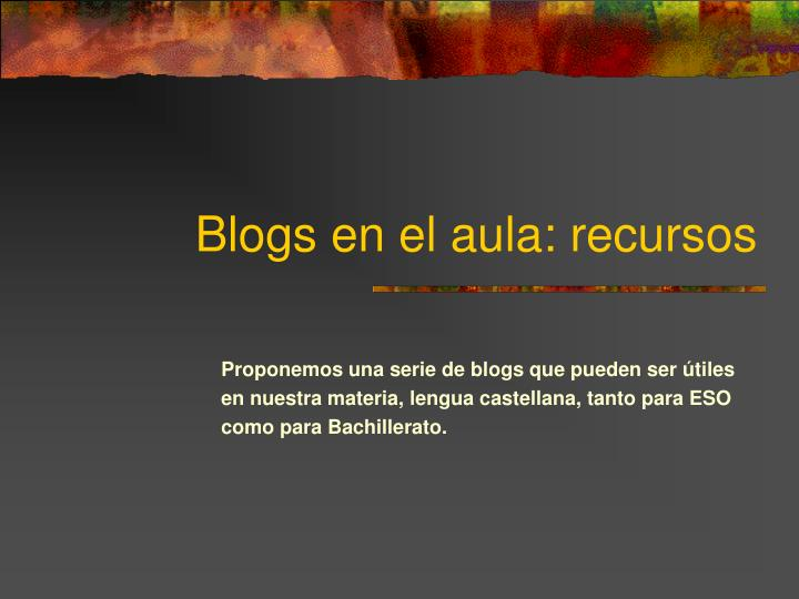 Blogs en el aula: recursos