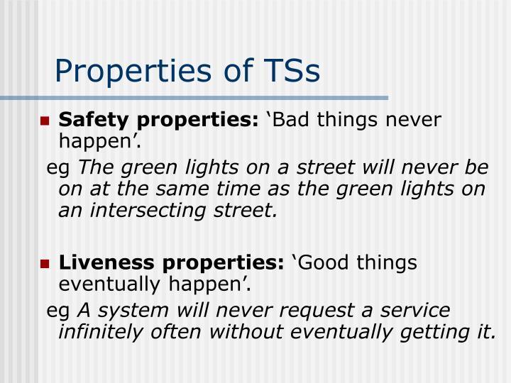 Properties of TSs