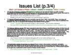 issues list p 3 4 red not treated in phase 1 green treated or non issue yellow notes