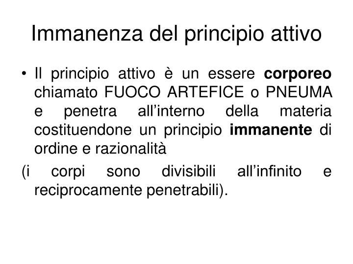 Immanenza del principio attivo