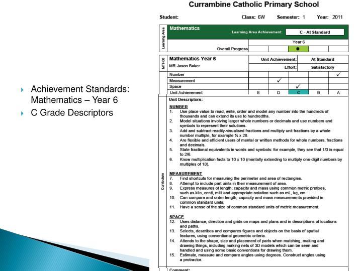 Achievement Standards: Mathematics – Year 6