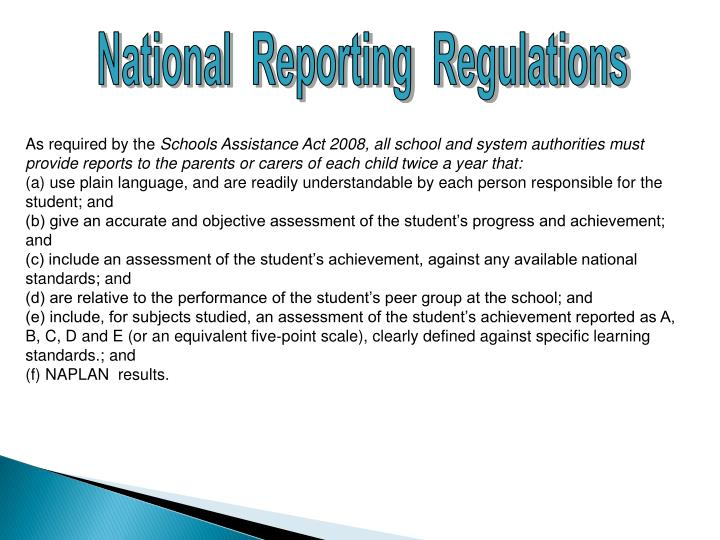 National  Reporting  Regulations