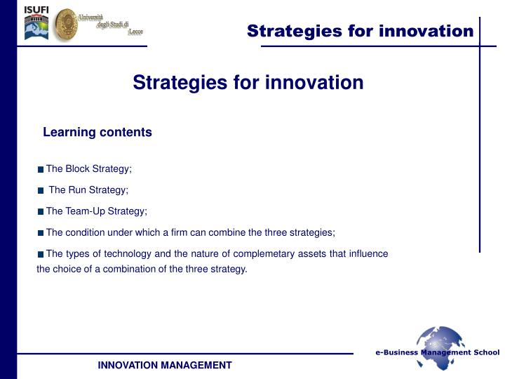Strategies for innovation