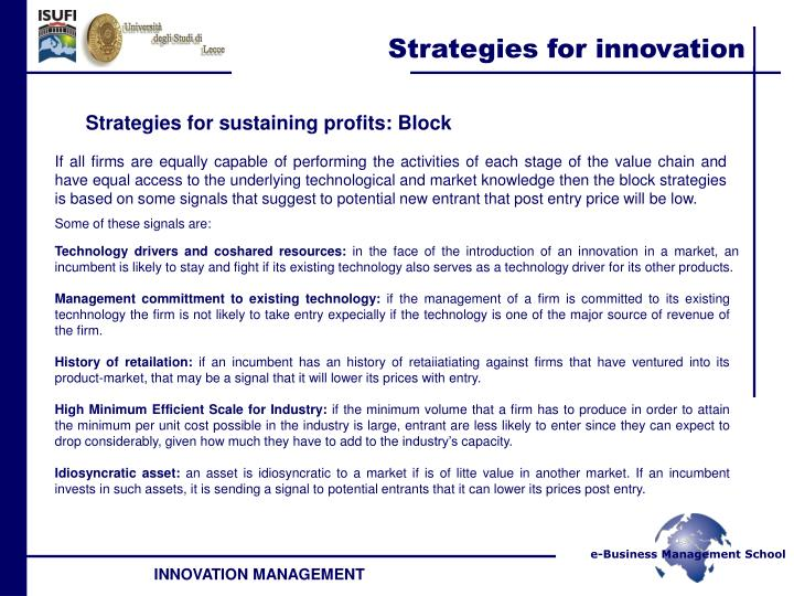 Strategies for sustaining profits: Block