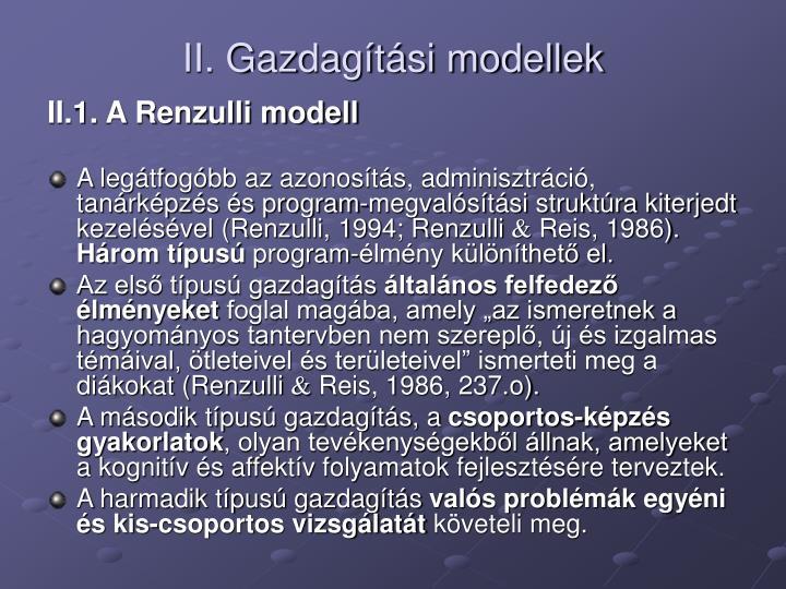 II. Gazdagítási modellek