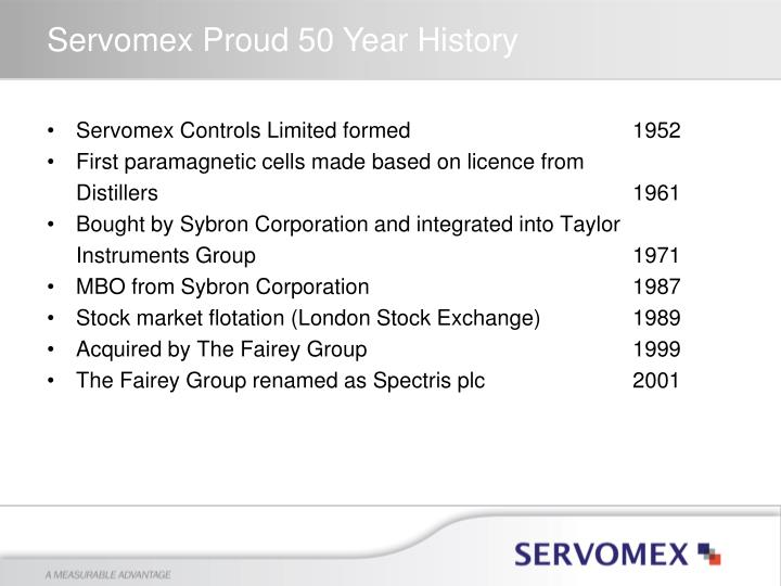 Servomex Controls Limited formed1952