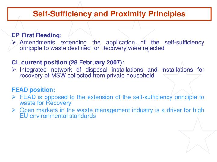 Self-Sufficiency and Proximity Principles