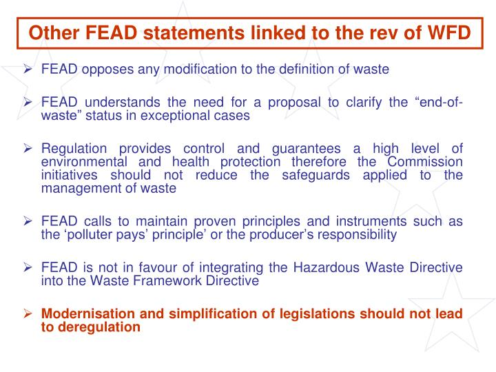 Other FEAD statements linked to the rev of WFD