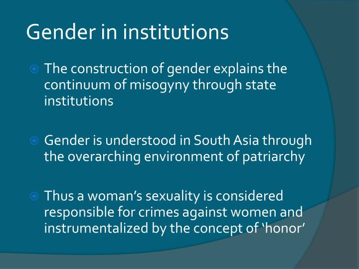 Gender in institutions