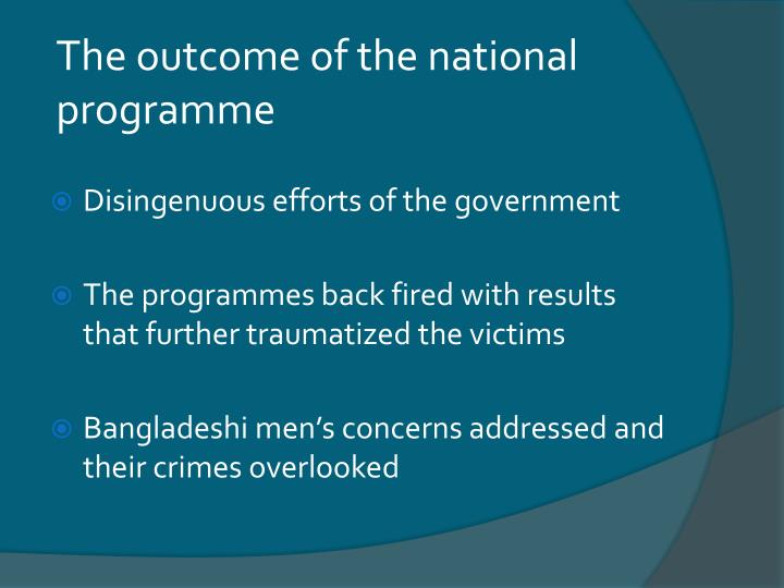 The outcome of the national programme