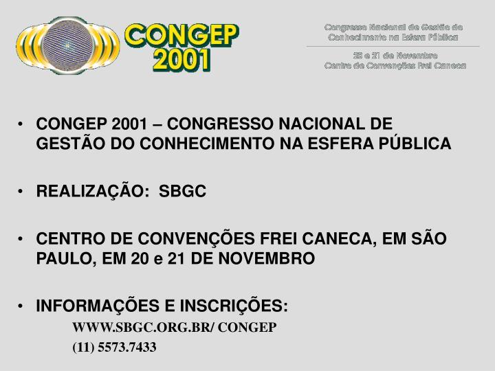 CONGEP 2001 – CONGRESSO NACIONAL DE GESTÃO DO CONHECIMENTO NA ESFERA PÚBLICA