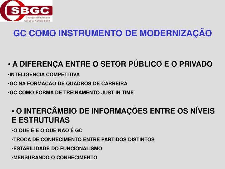 GC COMO INSTRUMENTO DE MODERNIZAÇÃO