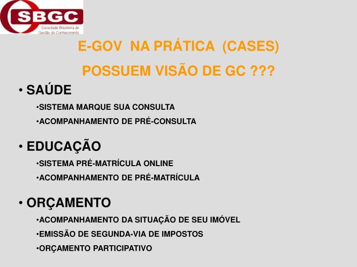 E-GOV  NA PRÁTICA  (CASES)
