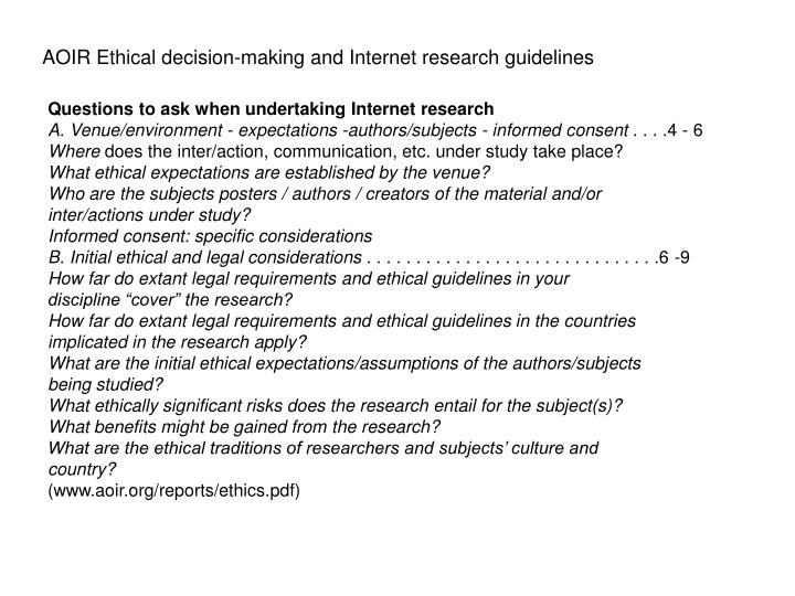 AOIR Ethical decision-making and Internet research guidelines