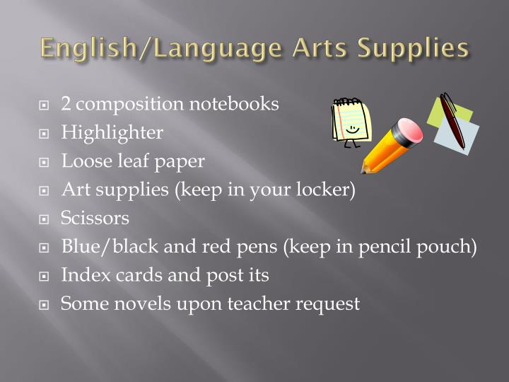 English/Language Arts Supplies