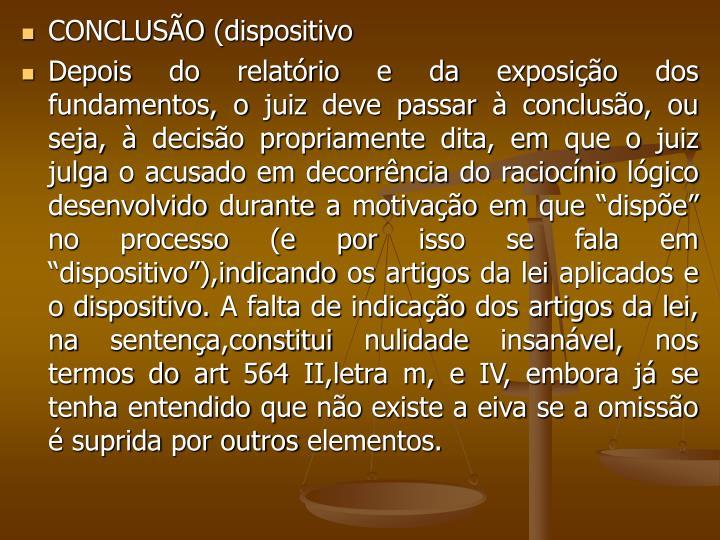 CONCLUSÃO (dispositivo