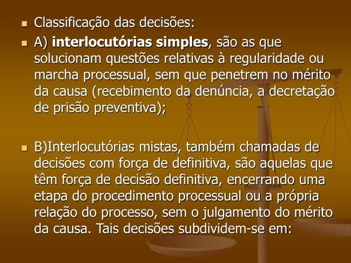 Classificação das decisões: