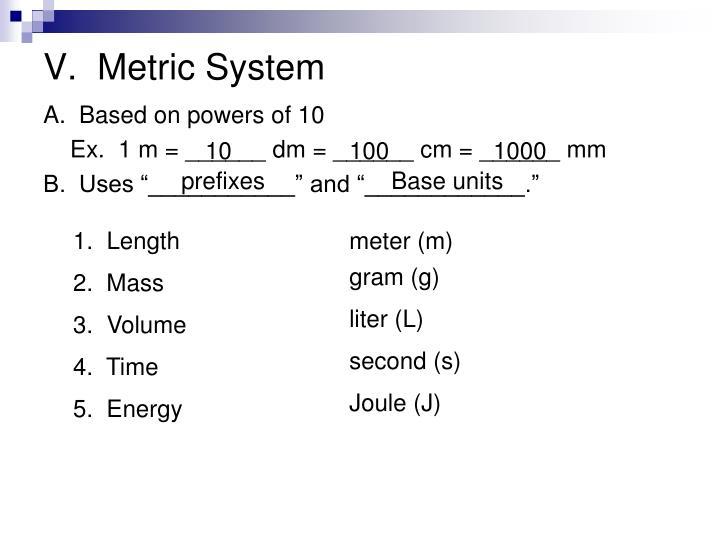 V.  Metric System