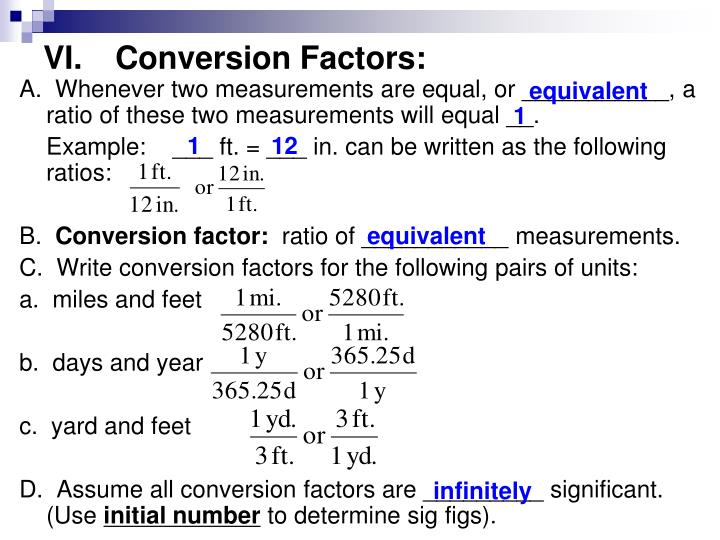 VI.Conversion Factors: