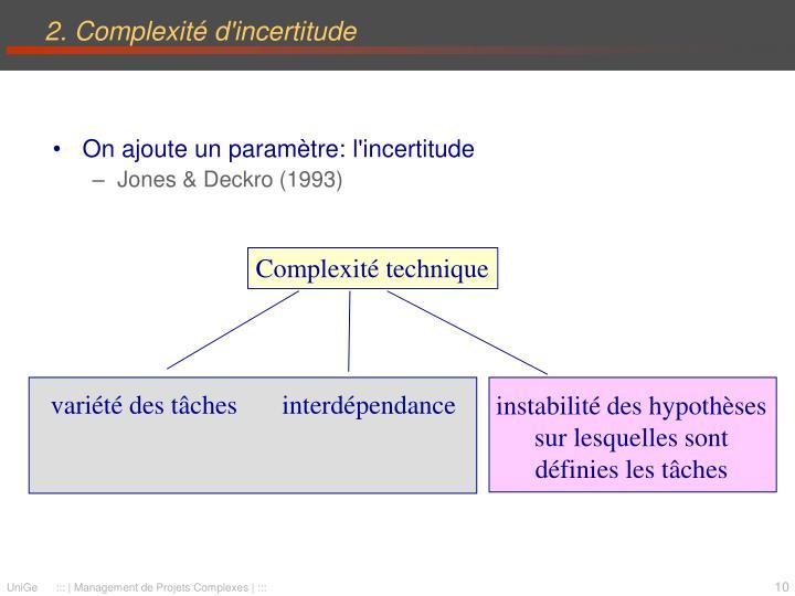 instabilité des hypothèses sur lesquelles sont définies les tâches
