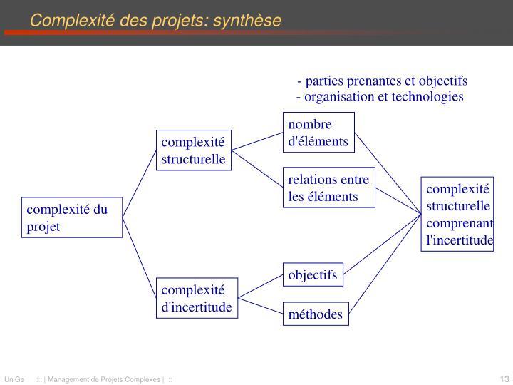 Complexité des projets: synthèse