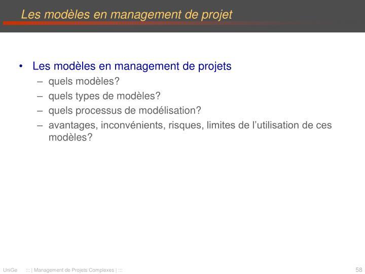 Les modèles en management de projet