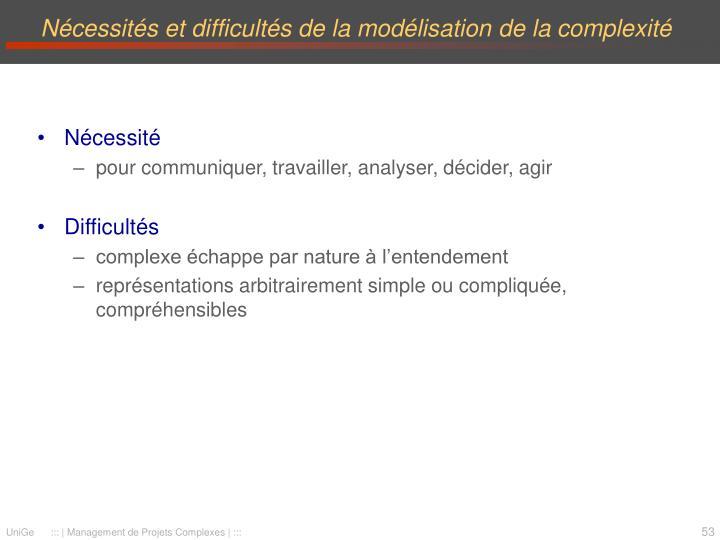 Nécessités et difficultés de la modélisation de la complexité