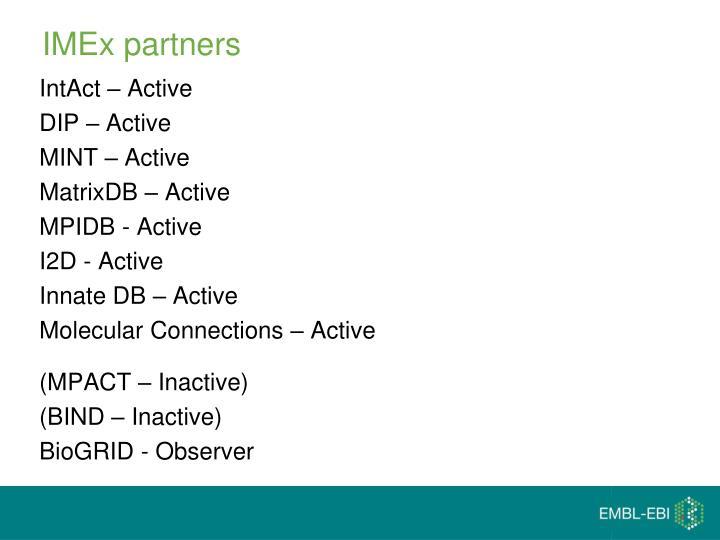 IMEx partners