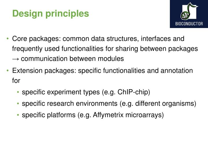 Core packages: common data structures, interfaces and frequently used functionalities for sharing between packages