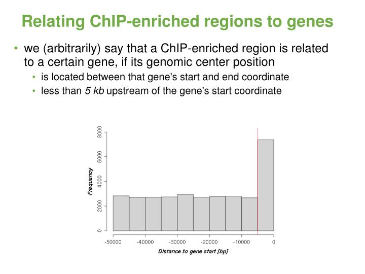 Relating ChIP-enriched regions to genes