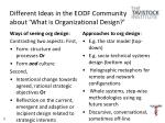 different ideas in the eodf community about what is organizational design