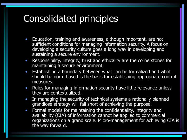Consolidated principles