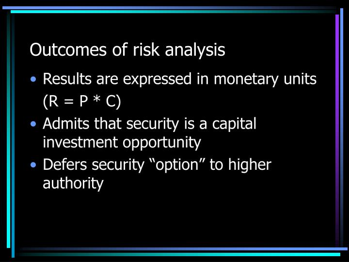 Outcomes of risk analysis