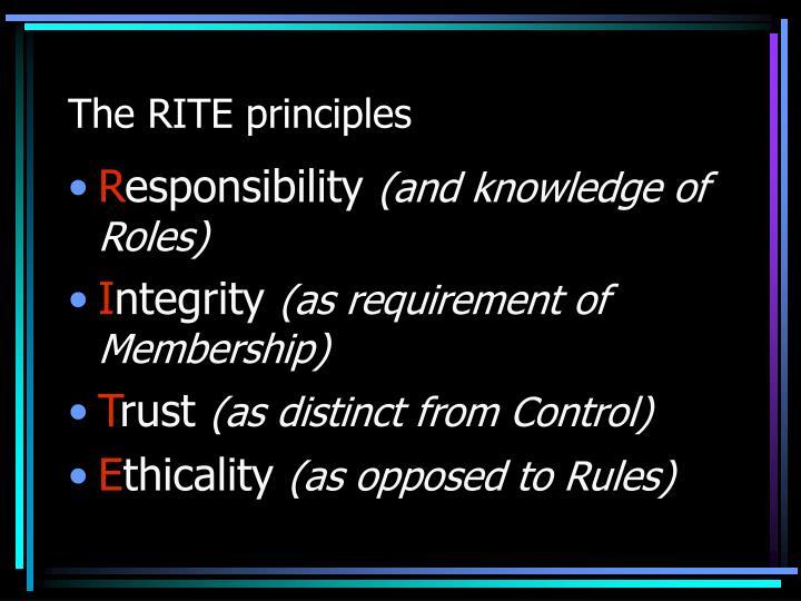 The RITE principles