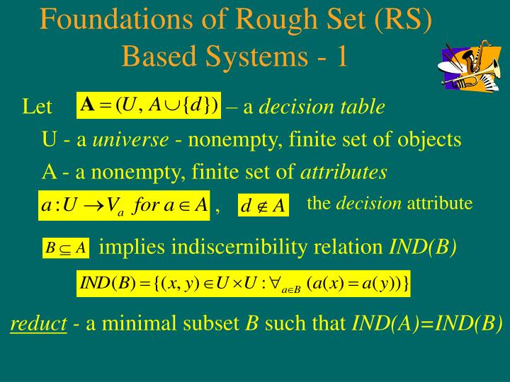 Foundations of Rough Set (RS) Based Systems - 1