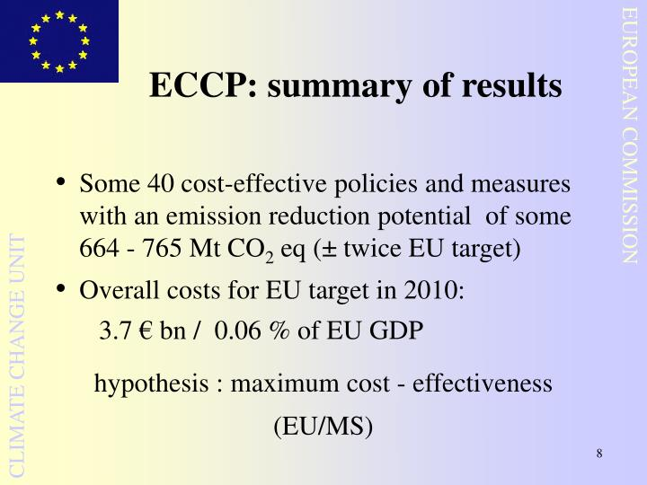 ECCP: summary of results