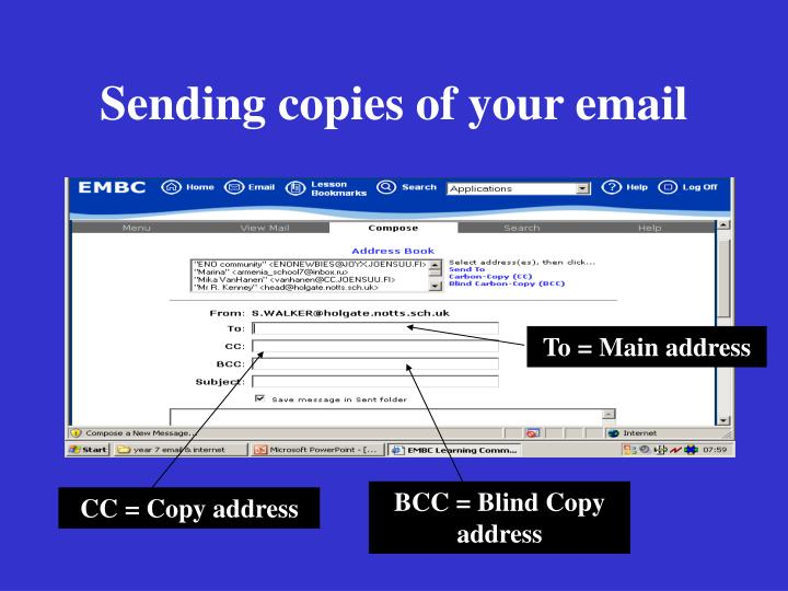 Sending copies of your email