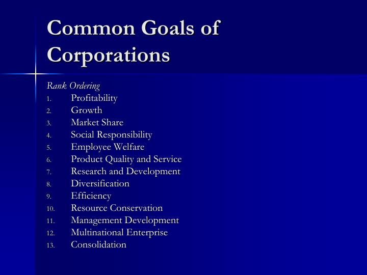 Common Goals of Corporations