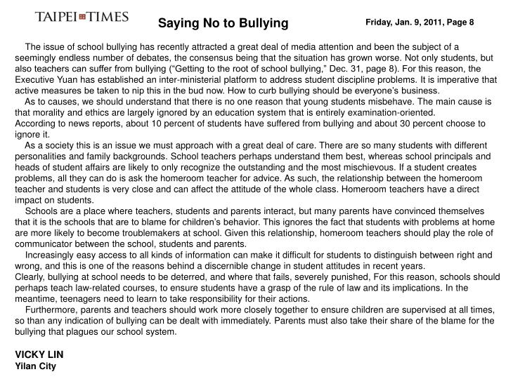 Saying No to Bullying