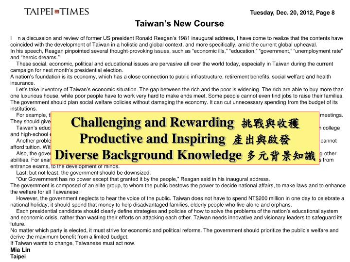 Taiwan's New Course