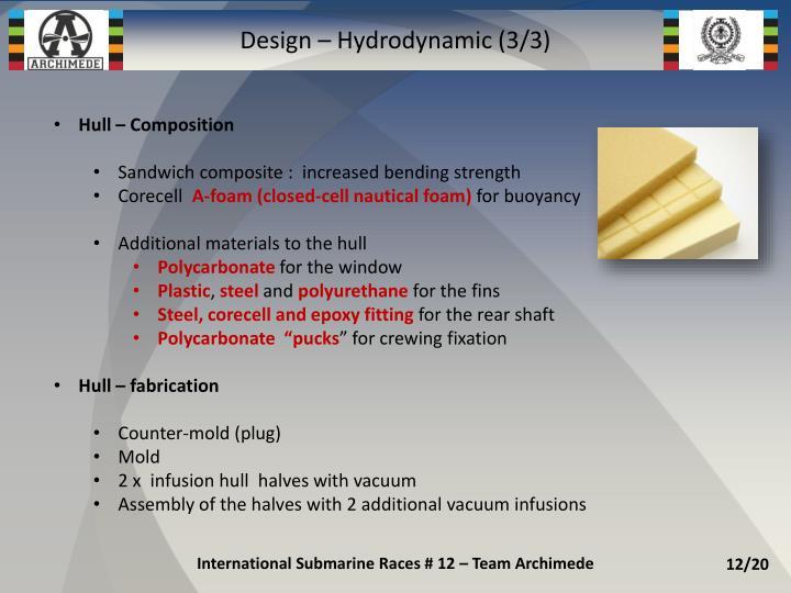 Design – Hydrodynamic (3/3)