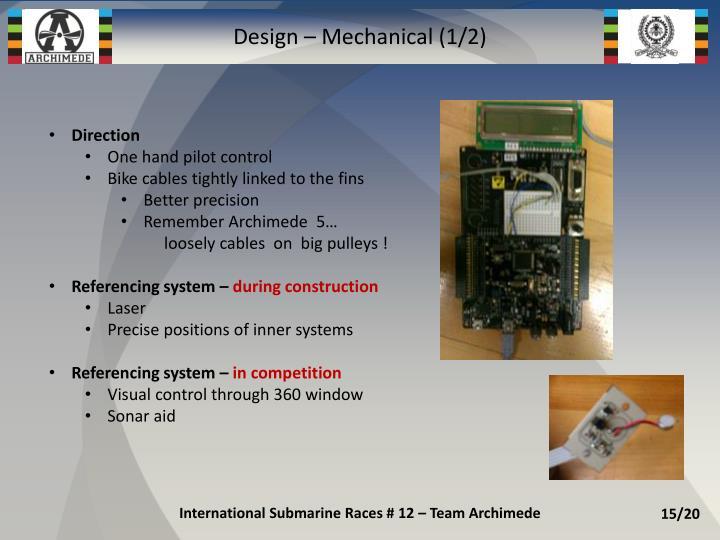 Design – Mechanical (1/2)