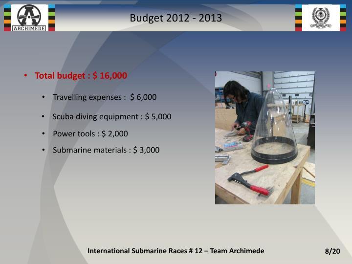 Budget 2012 - 2013