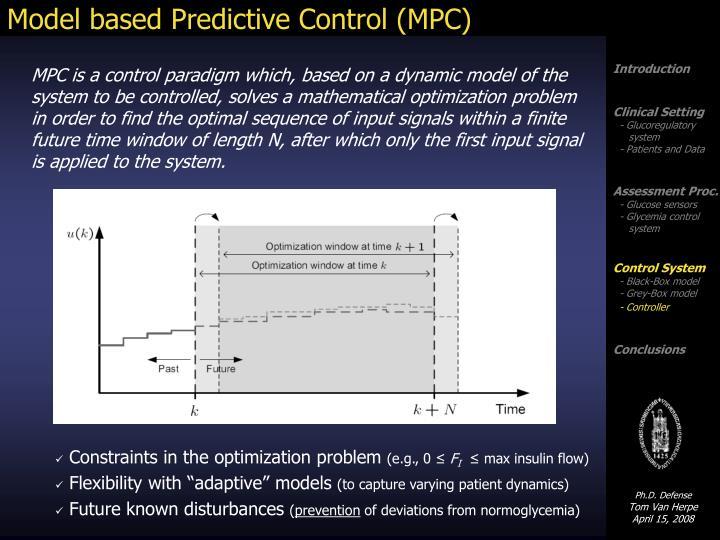 Model based Predictive Control (MPC)