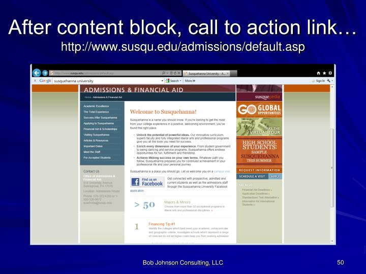 After content block, call to action link…