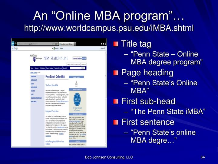 "An ""Online MBA program""…"